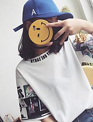 Harajuku de manga curta t-shirt mulheres, impressão digital tiro real, foi enviado