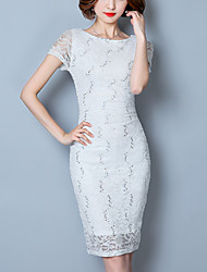 Women's Lace Work Party Sexy Street chic Fashion Bodycon Lace Dress Solid Pleated Boat Neck Knee-length Short Sleeve Polyester Summer Mid Rise