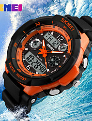 SKMEI Мужской Наручные часы LCD Календарь Секундомер Защита от влаги С двумя часовыми поясами тревога Кварцевый Японский кварц Pезина