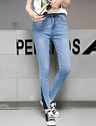 signe pantalon denim serré à la taille des pieds féminins