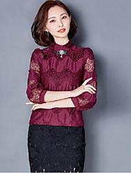 signe ressort femme chemise en mousseline de soie 2016 femmes&# 39; une nouvelle chemise à manches longues et un demi-col haut point