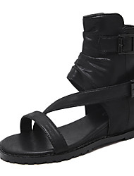 Women's Sandals Summer Gladiator PU Casual Flat Heel Buckle