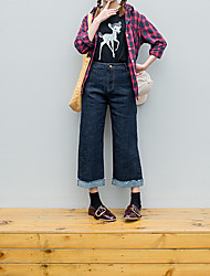 Signer la taille élastique version coréenne du vent de curling harajuku bf vent doux denim pantalons larges pantalons pantalons femme