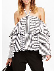 Women's Beach Party/Club Sexy Tank TopPlaid Halter Long Sleeve Cotton Polyester