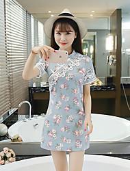 Signe 2017 nouveau crochet fleur dentelle à manches courtes taille mince petite impression fraîche élégante cheongsam robe rétro