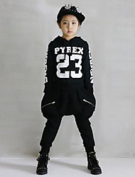 Jazz Outfits Kid's For Boys For Girls Children's Performance Cotton Pattern/Print Splicing 2 Pieces Long Sleeve Natural Top Pants Black Dance Costume