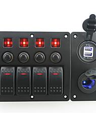 rouge iztoss conduit bande DC12 / 24v 4 interrupteur marche-arrêt panneau incurvé bascule et coupe-circuit avec des étiquettes