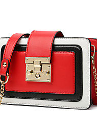 Women Shoulder Bag PU All Seasons Sports Casual Office & Career Baguette Magnetic Red Black