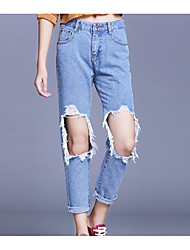 Women's Loose Jeans Pants,Casual/Daily Street chic Solid Mid Rise Zipper Others Inelastic All Seasons