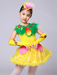 Ballet Dresses Kid's Performance Milk Fiber Feathers Crystals/Rhinestones Sequins 4 Pieces Sleeveless High Gloves Dress Headpieces Girl Dance Costume