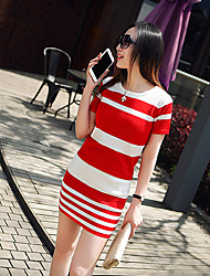 Summer two-piece dress was thin stripe package hip Slim short-sleeved dress small fragrant wind suit skirt Women