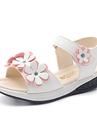 Girls' Sandals Spring Summer Flower Girl Shoes PU Wedding Party & Evening Dress Casual Flat Heel Magic Tape Flower
