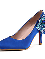 Women's Heels Summer Fall Club Shoes Satin Office & Career Party & Evening Dress Stiletto Heel Rhinestone