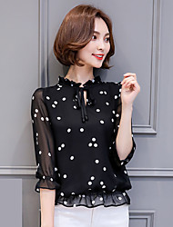 Sign chiffon shirt female Korean version of the 2017 spring and summer wild dot flounced blouse small shirt bottoming