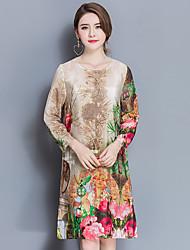 2017 весной новый женский пригородный свободный с длинными рукавами шелковое платье моды юбка печатных основывая