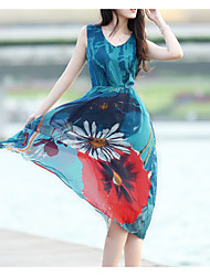 2017 Bohemian dress beach skirt fashion chiffon put on a large seaside resort in summer Dresses