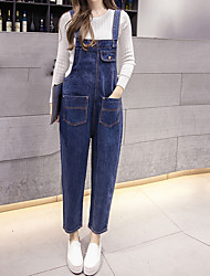 Sign # Europe station Hitz Korean version was thin denim overalls trousers
