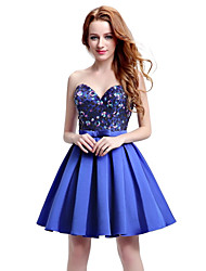 Cocktail Party Dress Ball Gown Sweetheart Knee-length Satin with Sequins