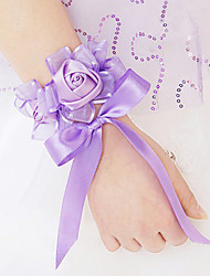 Wedding Flowers Free-form Roses Wrist Corsages Wedding Party/ Evening Satin