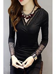 Damen Solide Sexy Lässig/Alltäglich T-shirt,V-Ausschnitt Frühling Langarm Polyester Mittel