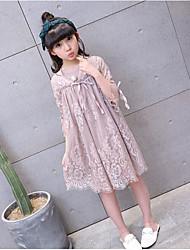 Menina de Vestido Casual Cor Única Verão Algodão Raiom Manga 3/4