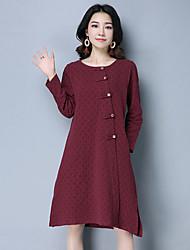Signe 2017 printemps nouvelle solide couleur gaufrée rétro national de vent personnalité loose coton robe