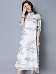 Women's Going out Chinoiserie Loose Dress,Print Round Neck Midi ¾ Sleeve Cotton Linen Spring Summer Mid Rise Micro-elastic Medium
