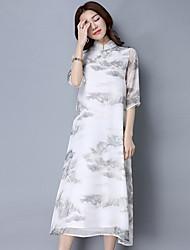 Ample Robe Femme Sortie Chinoiserie,Imprimé Col Arrondi Midi Manches ¾ Coton Lin Printemps Eté Taille Normale Micro-élastique Moyen
