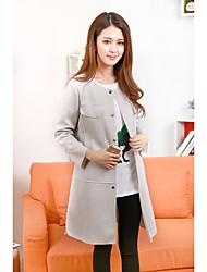 lado bolso grande 2017 nova moda primavera de fenda longa complexo de algodão espaço jaqueta casual