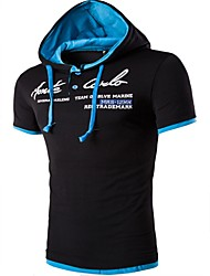 Herren Druck Einfach Lässig/Alltäglich T-shirt,Mit Kapuze Kurzarm Baumwolle