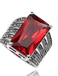 Men's Ring Statement Rings Euramerican Fashion Personalized Simple Style Garnet Zircon Rhinestone Geometric Jewelry ForCongratulations Business Daily