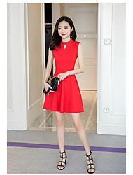 2017 primavera e verão vestido de saia sem mangas colete novas cinza coreano slim uma palavra de fundo saia hepburn pouco vestido preto
