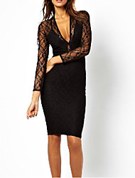 AliExpress sexy deep V-neck back perspective lace halter strap dress design double