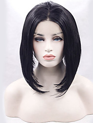 Black Short Lace Front Wig Heat Resistant Middle Parting Fashion Daily Wig