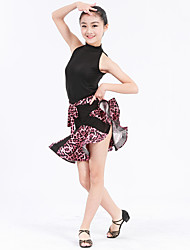 Latin Dance Outfits Women's Kid's Performance Spandex Polyester Lace Ruffles Flower(s) Pattern/Print Leopard 2 Pieces Sleeveless Natural