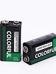 COLORFUL 9V Zinc Dry Cell Battery 9V 10 Pack