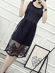 Sign ride in the new skirt bottoming lace stitching long section of loose big yards skirt camisole dress