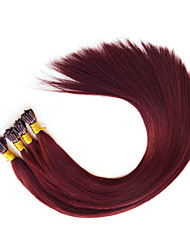 Pre bonded I Tip Hair Extension Fusion Human Hair Extensions Burgandy 530 1g/stand 18