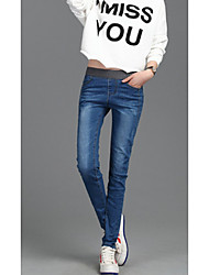 Women's High Rise Micro-elastic Jeans Pants,Simple Skinny Solid