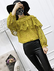 Spring and Autumn new Korean version of flounced stitching round neck long-sleeved shirt wide Song Leisi shirt bottoming shirt female students