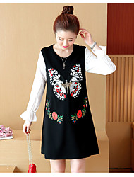 Sign 2017 spring new Korean women loose thin shirt fake two butterflies embroidered dress 9802