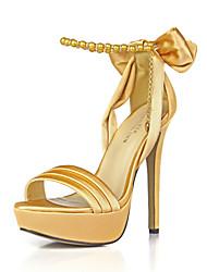 O clube do verão das sandálias das mulheres calça a festa de casamento de seda&Vestido de noite bowknot cadeia