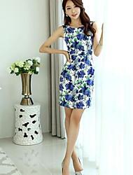 la nouvelle robe coréenne paquet mince robe élégante manches imprimé rétro jupe de la hanche