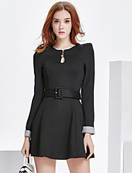 Sign 2017 new fashion Slim thin long-sleeved dress in a long coat Dresses