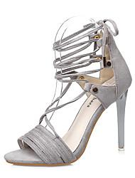 Damen-Sandalen-Kleid-Wildleder-Stöckelabsatz-Komfort-Schwarz Grau Khaki