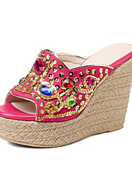 Women's Slippers & Flip-Flops Spring Summer Fall Slingback Microfibre Office & Career Party & Evening Dress Wedge Heel Rhinestone