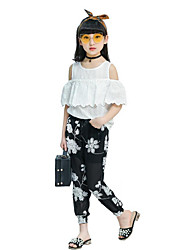 Girls' Casual/Daily Beach Holiday Solid Floral Sets,Polyester Summer Short Sleeve Clothing Set