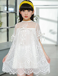 Girl's Cotton Sweet Going out Casual/Daily Holiday Bowknot Solid Color Lace Patchwork Princess Dress Cotton Summer Short Sleeve Red White