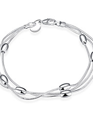 Sweet Silver plated Three-line Bead Strand Chain & Link Bracelets for Wedding Party Women Christmas Gifts