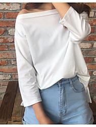 Femme Epaules Dénudées Signer main-d'oeuvre nécessaire couleur solide coréenne lisse sans bretelles fente t-shirt bas de chemise sauvage
